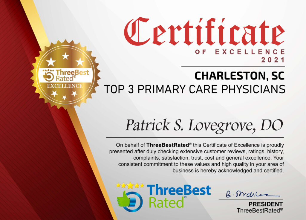 Dr. Lovegrove named as one of the top 3 Primary Care Physicians in Charleston, SC by ThreeBestRated